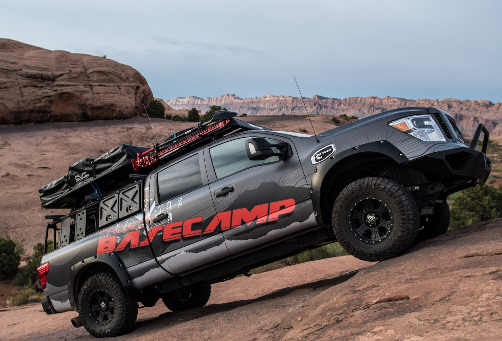 nissan titan xd pro 4x project basecamp is one tough truck. Black Bedroom Furniture Sets. Home Design Ideas