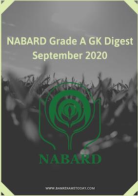 NABARD Grade A GK Digest: September 2020