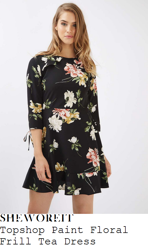 scarlett-moffatt-topshop-black-white-coral-red-yellow-gold-and-green-painterly-floral-print-three-quarter-sleeve-cut-out-frill-back-detail-high-waisted-flippy-hem-tea-dress