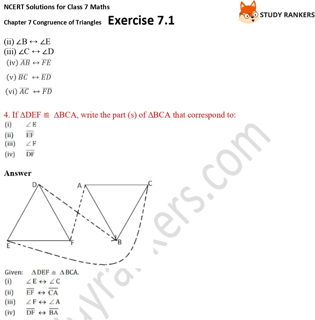 NCERT Solutions for Class 7 Maths Ch 7 Congruence of Triangles Exercise 7.1 2