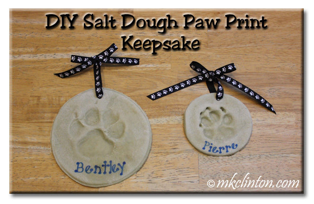 DIY Salt Dough Paw Print Keepsake with examples