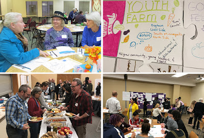 Collage of people attending the Minnesota food charter in action events, sitting, eating, talking.