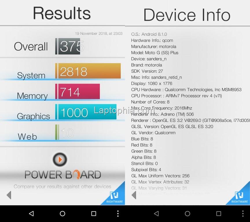 Benchmark Basemark OS II Motorola Moto G5S Plus
