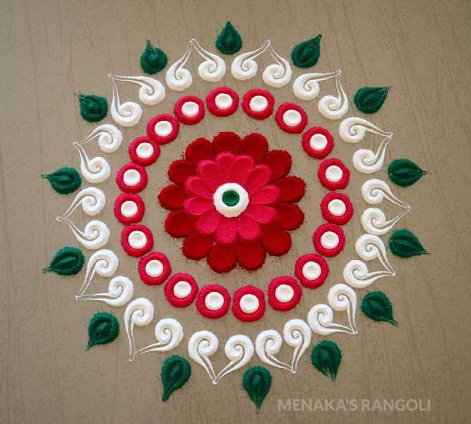 colourful and very easy rangoli design