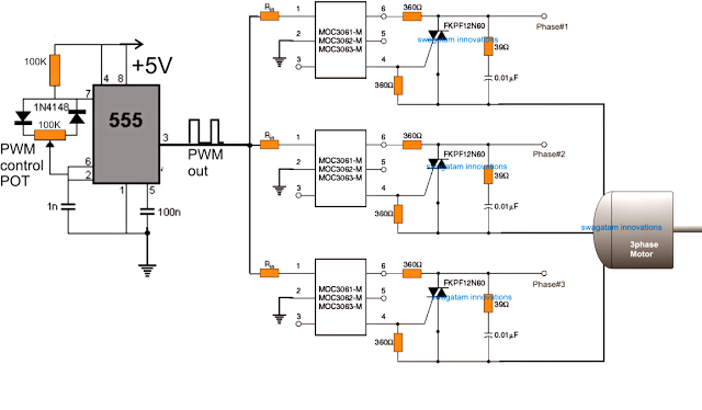 3 phase induction motor speed controller circuit using for Speed control of induction motor