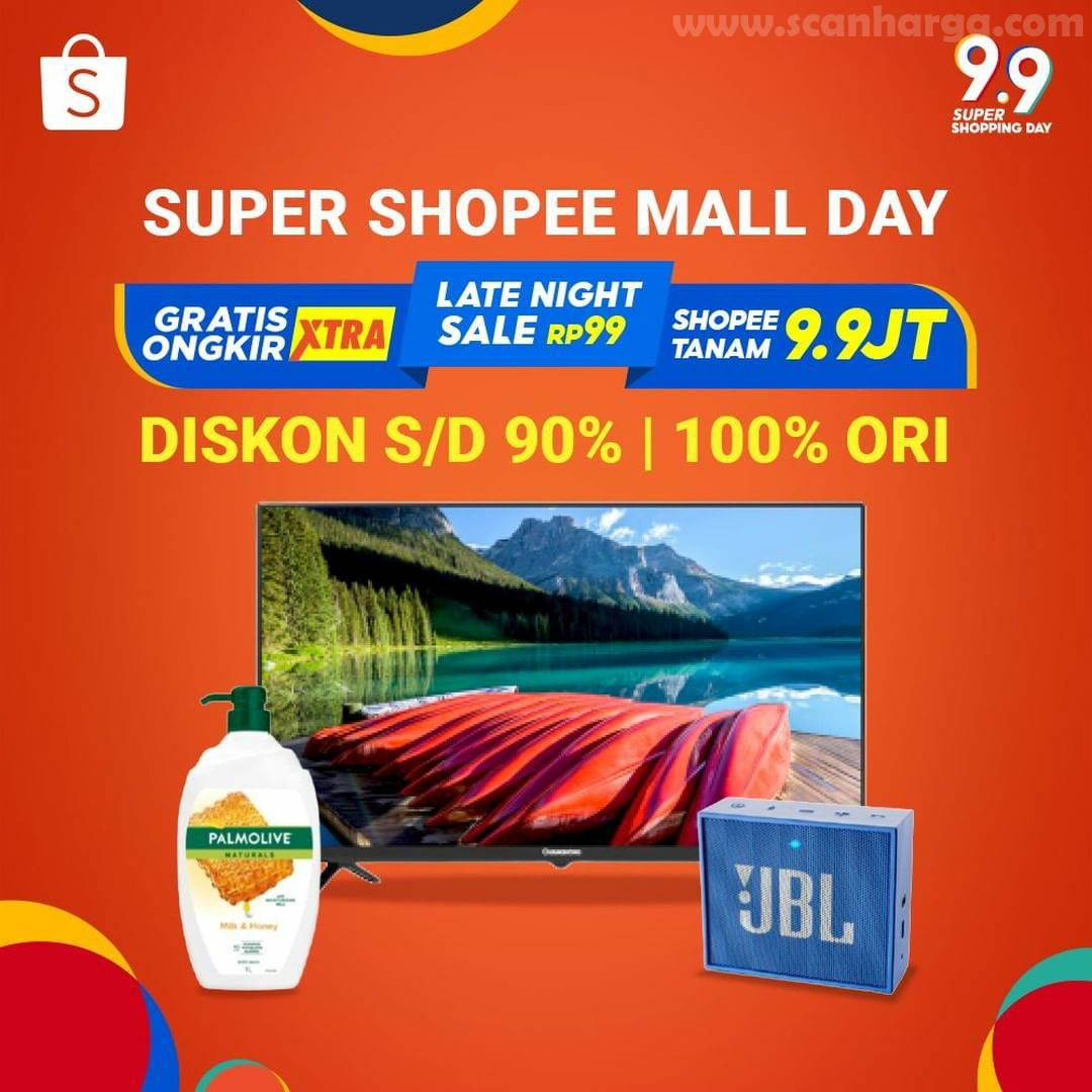 Promo Shopee 9.9 Super Shopping Day* Super Shopee Mall Day Diskon 90%