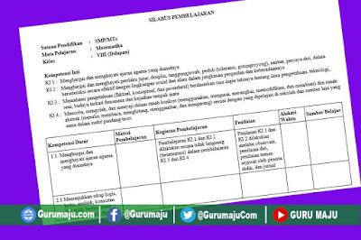 Silabus MTK Kelas 8 Kurikulum 2013 Revisi Terbaru