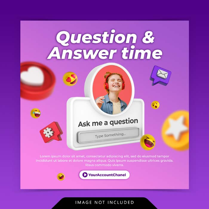 Creative Concept Question Answer Time Social Media Post Instagram Template