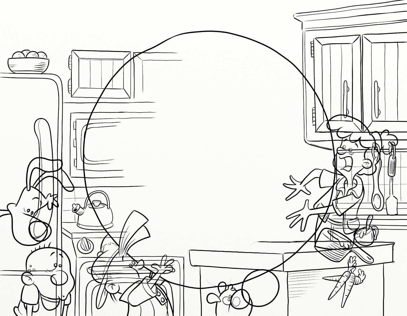 Note many background items were extended in more detail from the original pencil sketch doing this allows more control of placement and making adjustments
