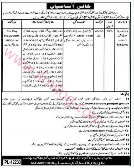 punjab-school-education-department-jobs-2017-chief-minister-monitoring-force-MEAs-for-public-schools