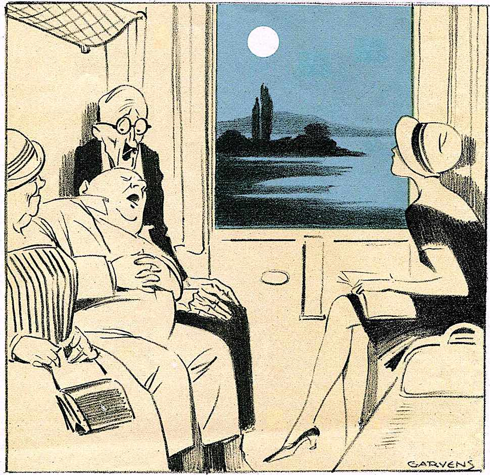 a 1927 cartoon about the discomforts of train travel, by Garvens