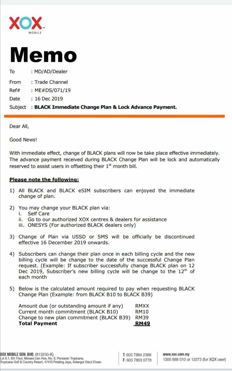 Pertukaran Pelan BLACK Immediate Change Plan