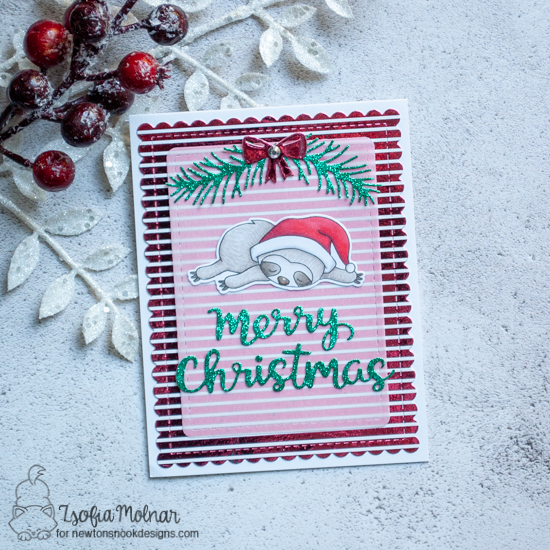 Newton's Nook Designs & Therm O Web Inspiration Week - Christmas Sloth card by Zsofia Molnar | Slothy Christmas Stamp Set, Holiday Greetings and Pines& Holly Die Sets by Newton's Nook Designs | Foil-mates and Foil by Therm O Web #newtonsnook #thermoweb