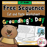 Free Sequence Cut and Paste Worksheet for Groundhog's Day