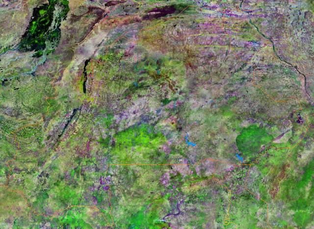 Gambar Peta Wilayah Negara Burkina Faso tampak dari satelit