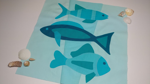 Fish quilt block for the QAL By the Sea