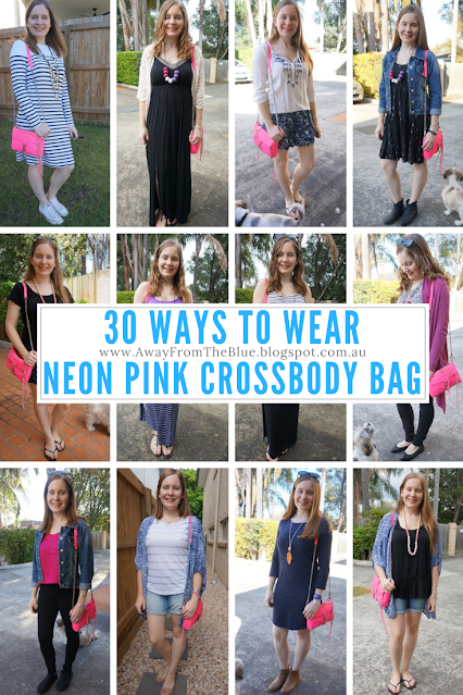 30 Ways To Wear Rebecca Minkoff mini mac neon pink crossbody bag   awayfromblue
