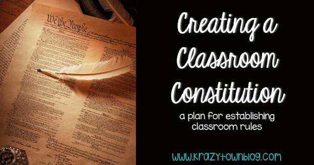 A detailed plan for establishing classroom rules by working with students to write a classroom constitution