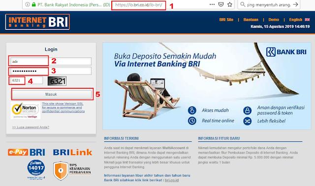 Cara Cek Mutasi Transaksi Rekening BRI di Internet Banking BRI - Halaman Depan dan Login Internet Banking BRI