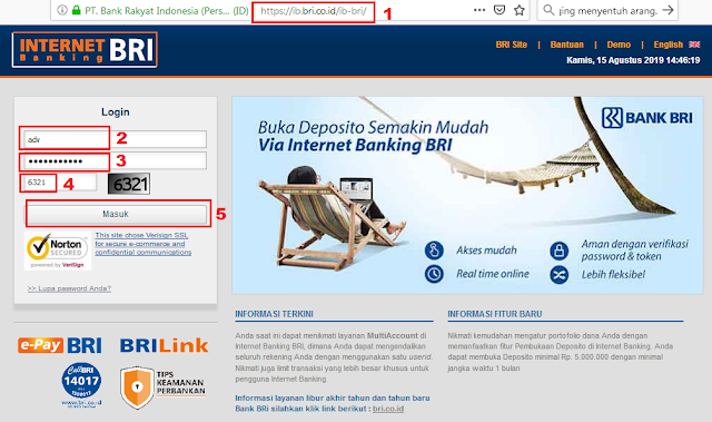 Cara Cek Saldo Rekening BRI di Internet Banking BRI - Halaman Depan dan Login Internet Banking BRI