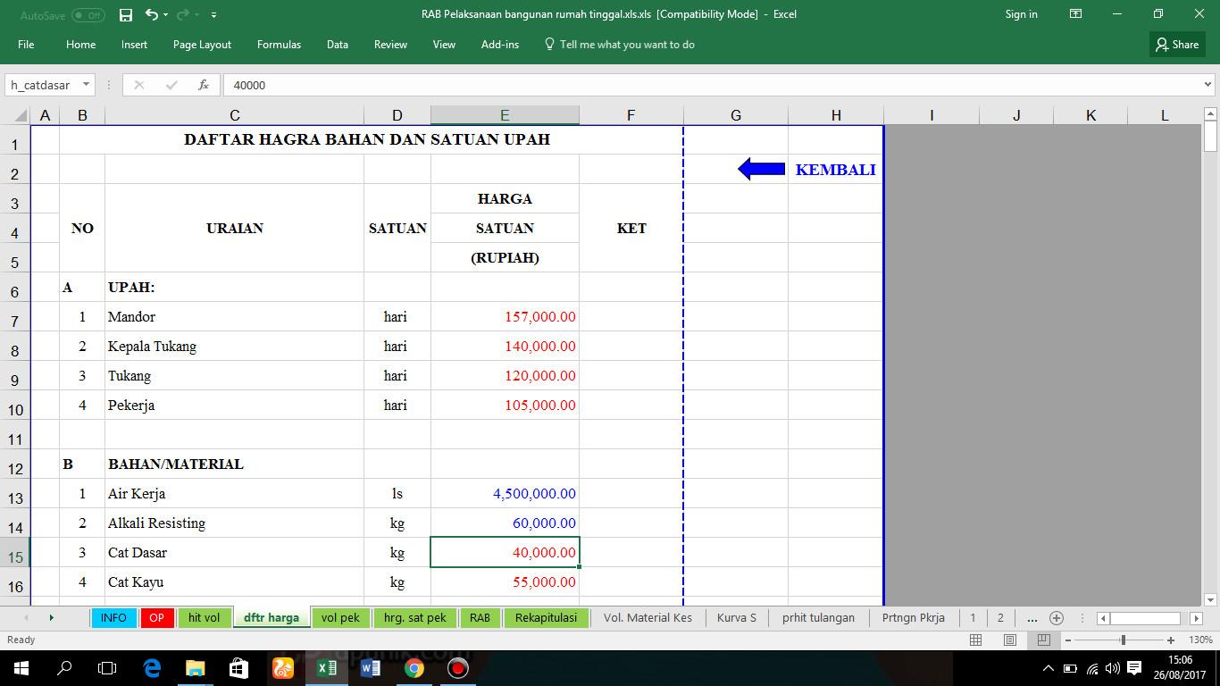 Download RAB Exel Pelaksanaan Bangunan Rumah Tinggal ...