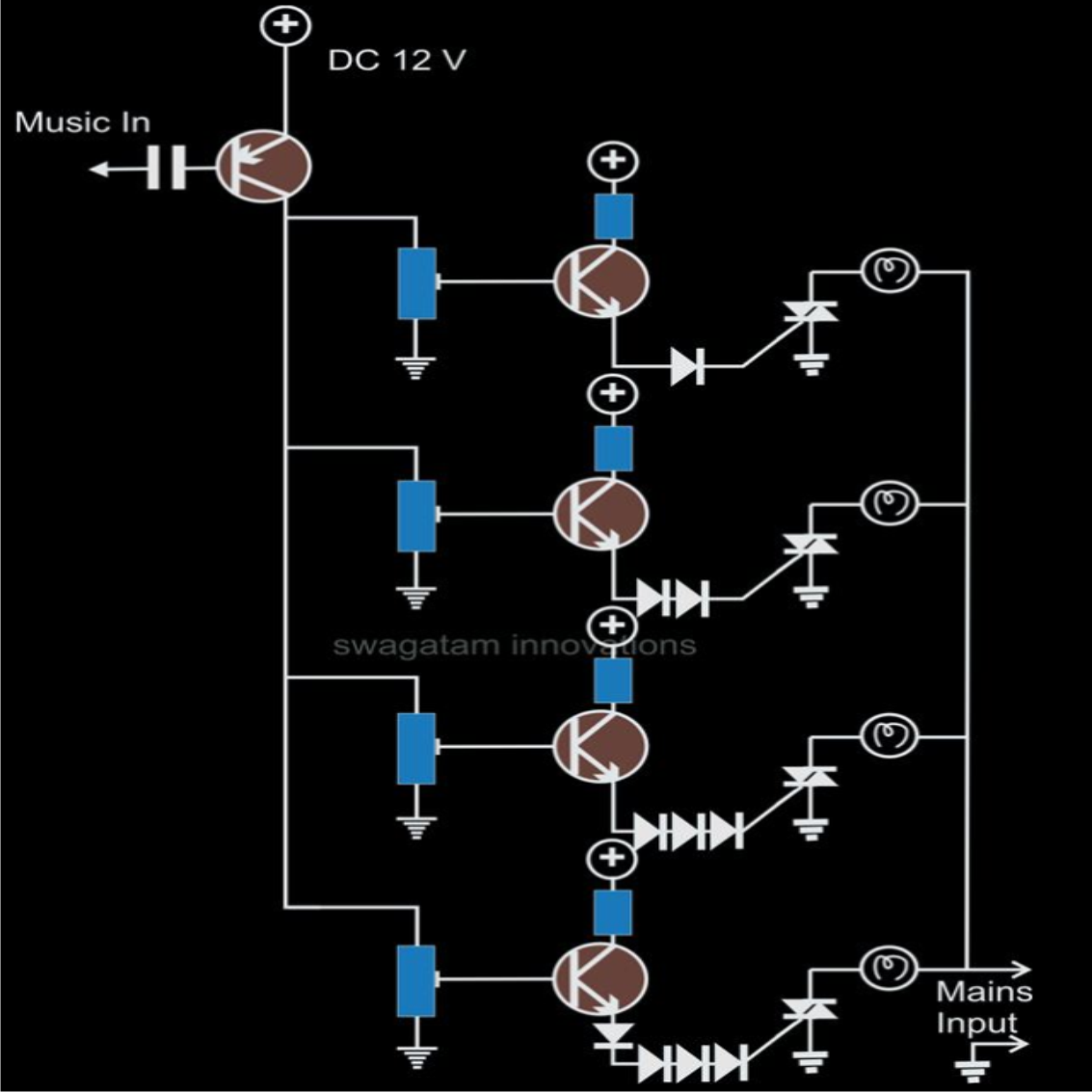 Dc Wiring Schematic For Christmas Lights Tree Lighting Circuit Diagram Gadgetronicx Make A Simple Music Controlled