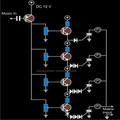 Make a Simple Music Controlled Christmas Lights Circuit | wiring and diagram