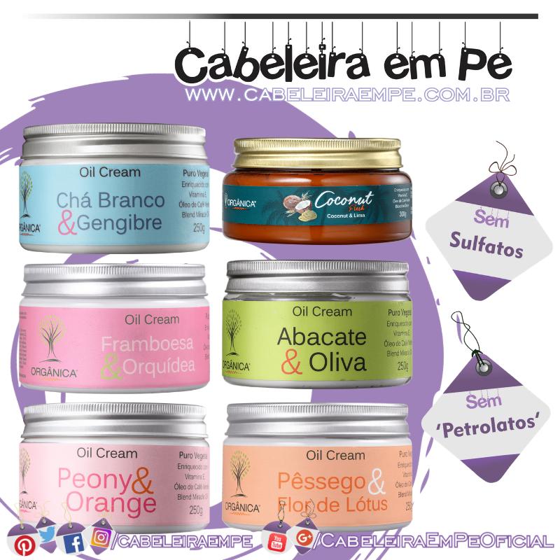 Oil Cream Hidratante - Orgânica (Peony e Orange, Abacate e Oliva, Chá Branco e Gengibre, Pêssego e Flor de Lótus, Framboesa e Orquídea & Coconut e Lima)