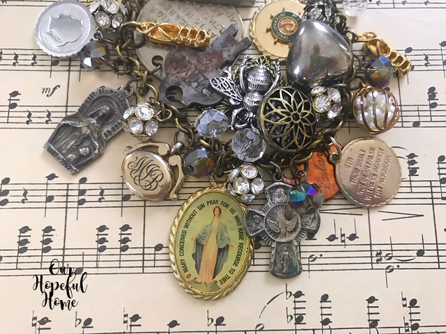 religious medals charms rhinestones beads locket crucifix