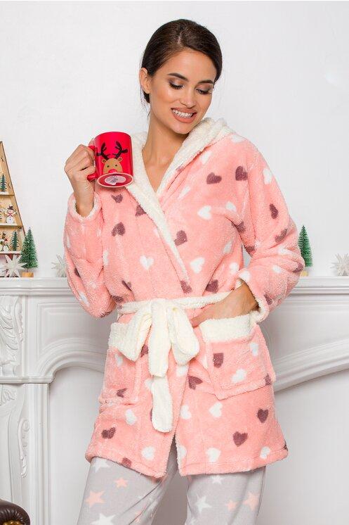 Halat pufos de femei din bumbac roz cu inimioare