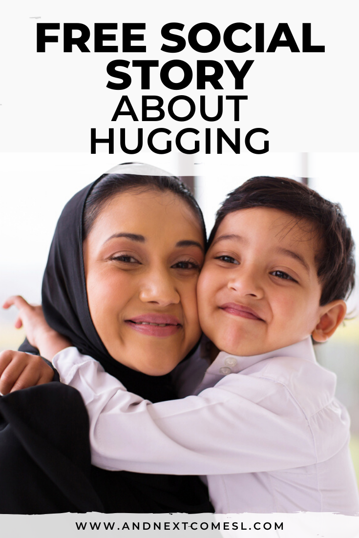 Free printable social story for kids with autism about hugging