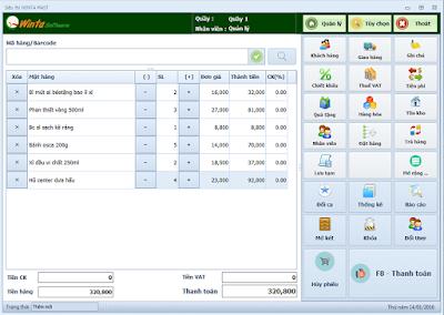 Giao diện POS của phần mềm bán hàng miễn phí