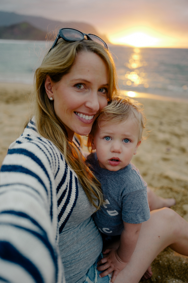 mother-son selfie at sunset during our family vacation to Kauai