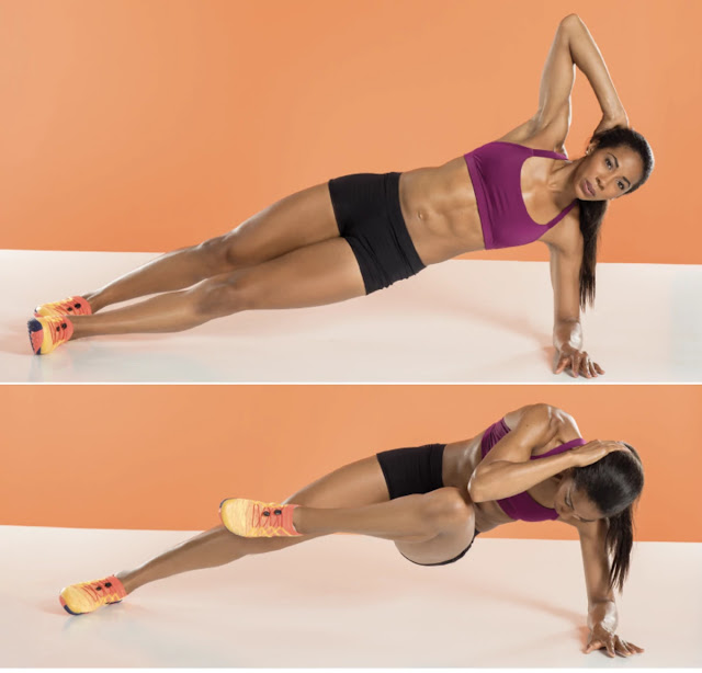 Side Plank Knee-To-Chest - glutes workout routine