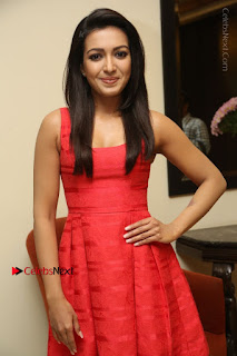 Actress Catherine Tresa Latest Pos in Red Short Dress at Intex Air Conditioners Launch  0019.jpg