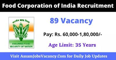 FCI Recruitment 89 vacancy