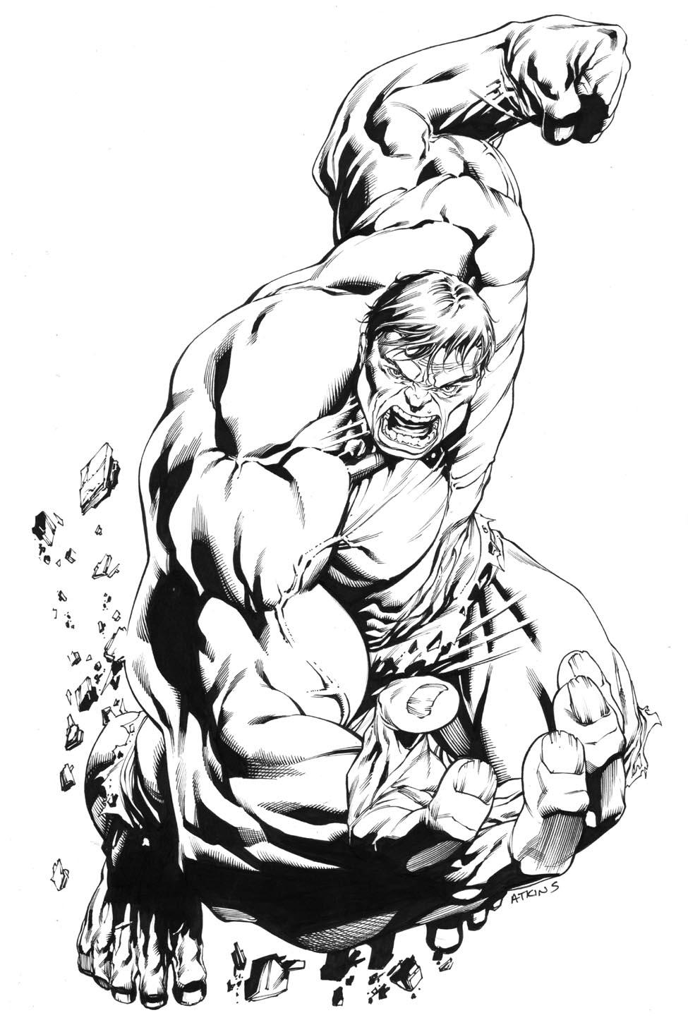 hulk hands coloring pages   Robert Atkins Art: Avengers April Hulk