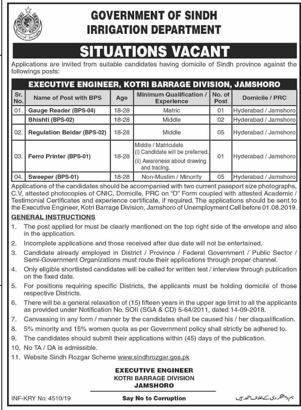 Advertisement for Irrigation Department Jobs