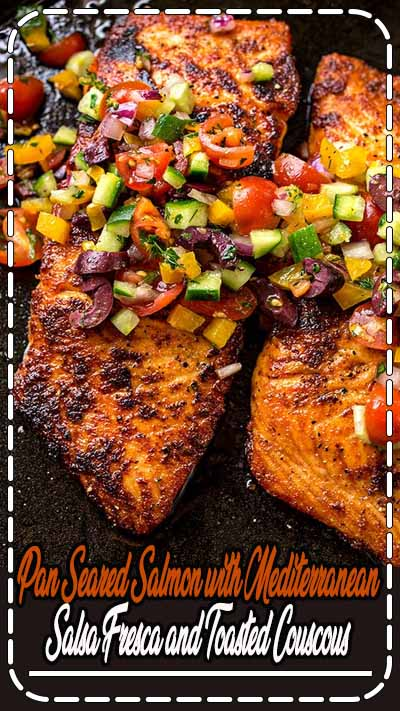 A mildly spicy salmon fillet seared to a succulent, golden-brown perfection, topped with a mediterranean salsa fresca—the perfect pan seared salmon!