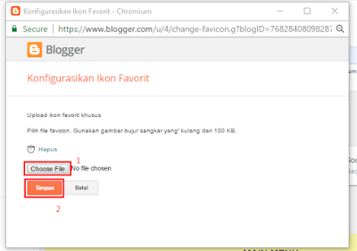 Pilih Icon/gambar favicon
