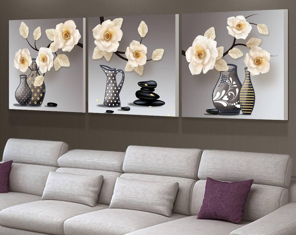 Tranh treo tường Bộ 3 Bình Hoa Treo Phòng Ngủ Đẹp