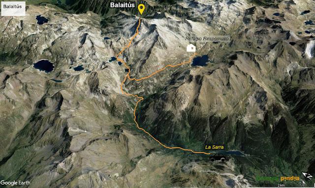 Ruta marcada sobre el mapa desde el Refugio Respomuso al Pico Balaitús regresando a la Sarra.