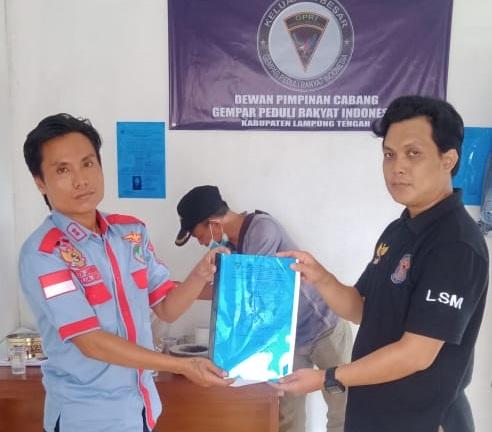 Ketua LSM GPRI Lamteng Lantik Anggota dan Ketua Kecamatan