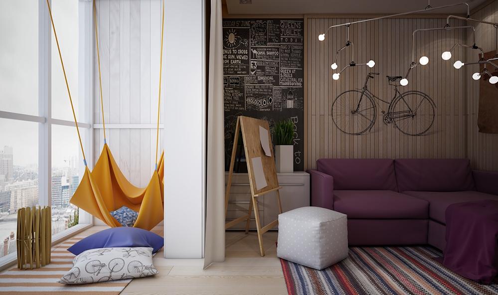 ห้องนอนสำหรับเด็กที่มีสีสันมีความอุดมสมบูรณ์ของ Playful Style