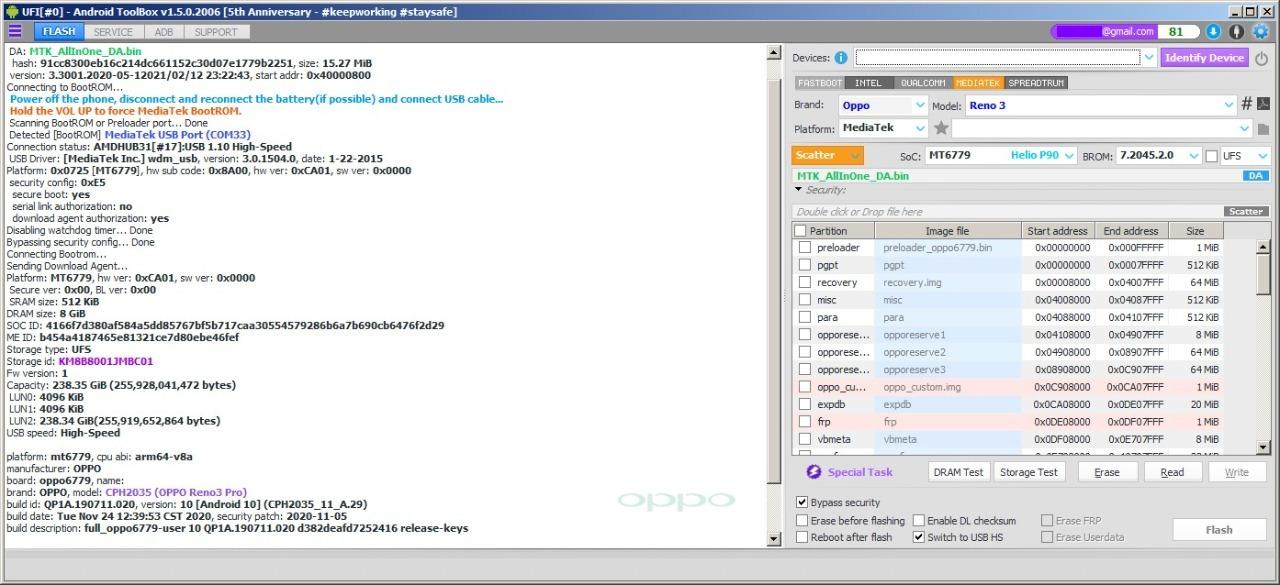 Preview UFI Update Bypass Mediatek Reno 3 MT6779