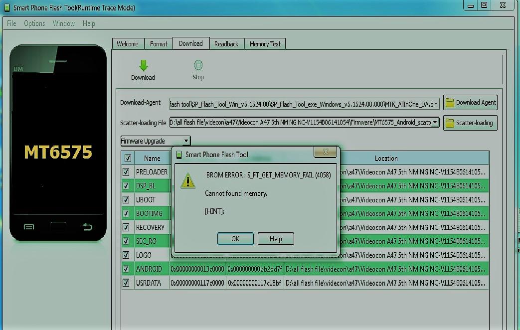 sp flash tool error 3183