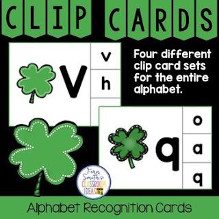 Alphabet Clip Card Center Easy Prep for Uppercase & Lowercase Shamrocks Themed