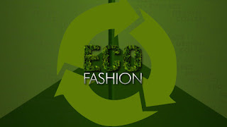 A green infographic of the words 'eco fashion' inside the universal iconic recycling symbol.