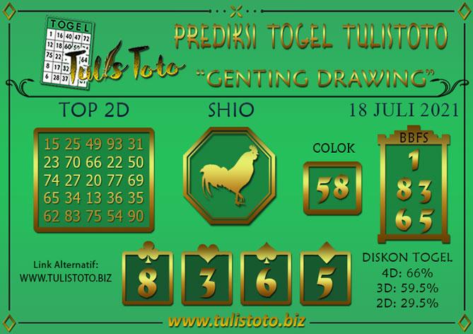 Prediksi Togel GENTING DRAWING TULISTOTO 18 JULI 2021
