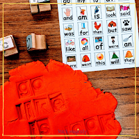 Sight Words Stamped in red play-dough from Teach Magically